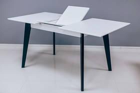 Кухонный стол МИЛАН 120х80+40 бело-черный