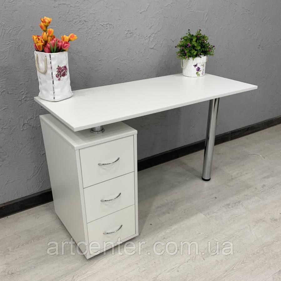 Маникюрный стол, стол для маникюра белый, офисный стол белый однотумбовый с ящиками