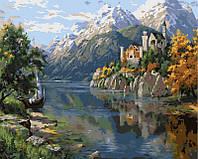 Раскраска на холсте На берегу горного озера Худ, Басов Сергей  40 х 50 см