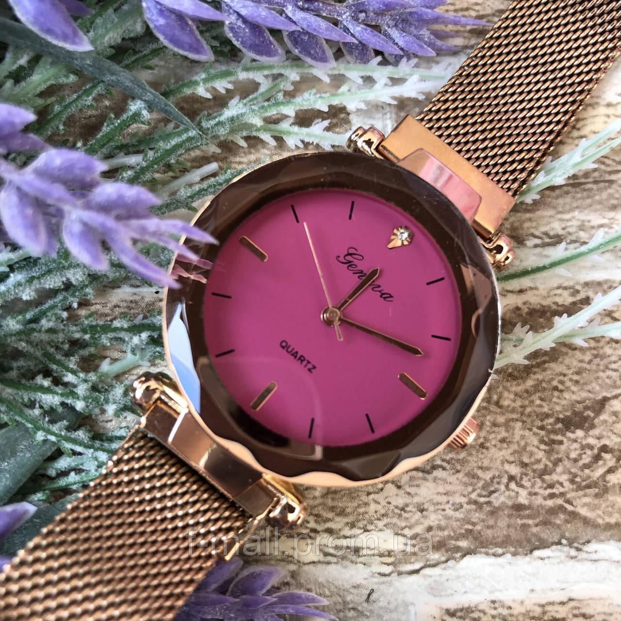 Женские наручные часы золото с розовым циферблатом