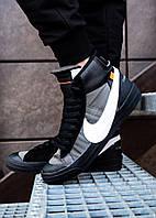 c08e2e46 Мужские кроссовки Nike весенние высокие повседневные найки в черном цвете,  ТОП-реплика