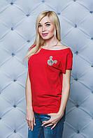 Футболка женская  красная с Микки  Маусом. Есть большие размеры