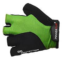 Велоперчатки с двойной прошивкой Power Play. Зеленый