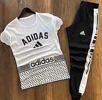 Стильный мужской комплект на лето   Летний молодежный спортивный костюм Адидас , фото 1