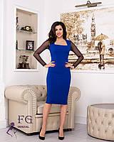 Платье-футляр синего цвета с рукавом
