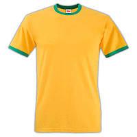Мужская футболка Fruit of the loom (Ringer T). Желтая с зеленой окантовкой.