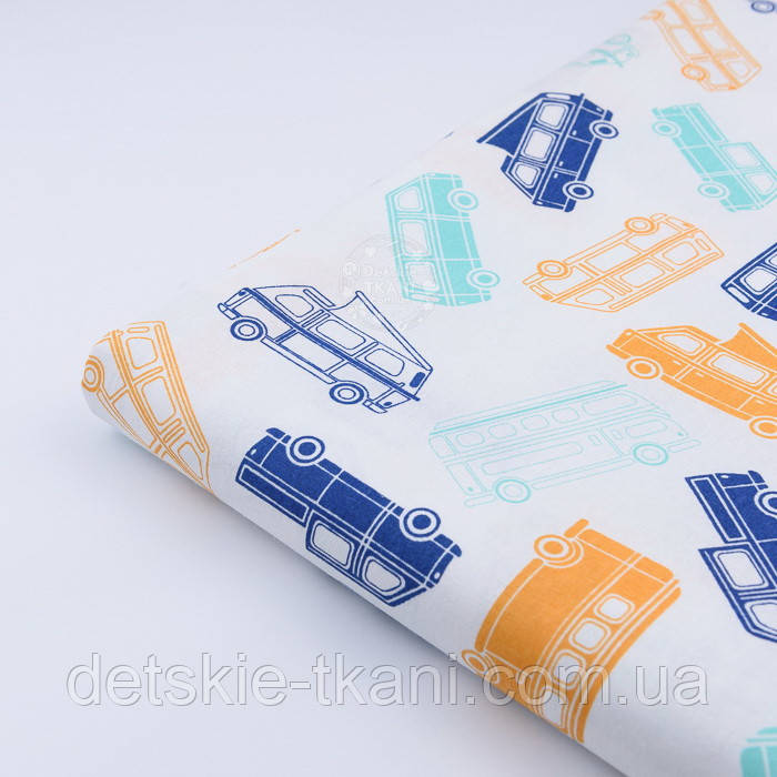 """Лоскут ткани №502 """"Автобусы"""", цвет синий, мятный и оранжевый"""