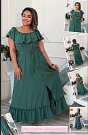 Летнее длинное платье на пышных женщин, с 48-98 размер, фото 1