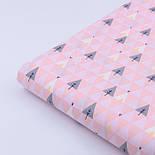 """Сатин ткань """"Треугольники деревья"""" серые на розовом № 2150с, фото 5"""