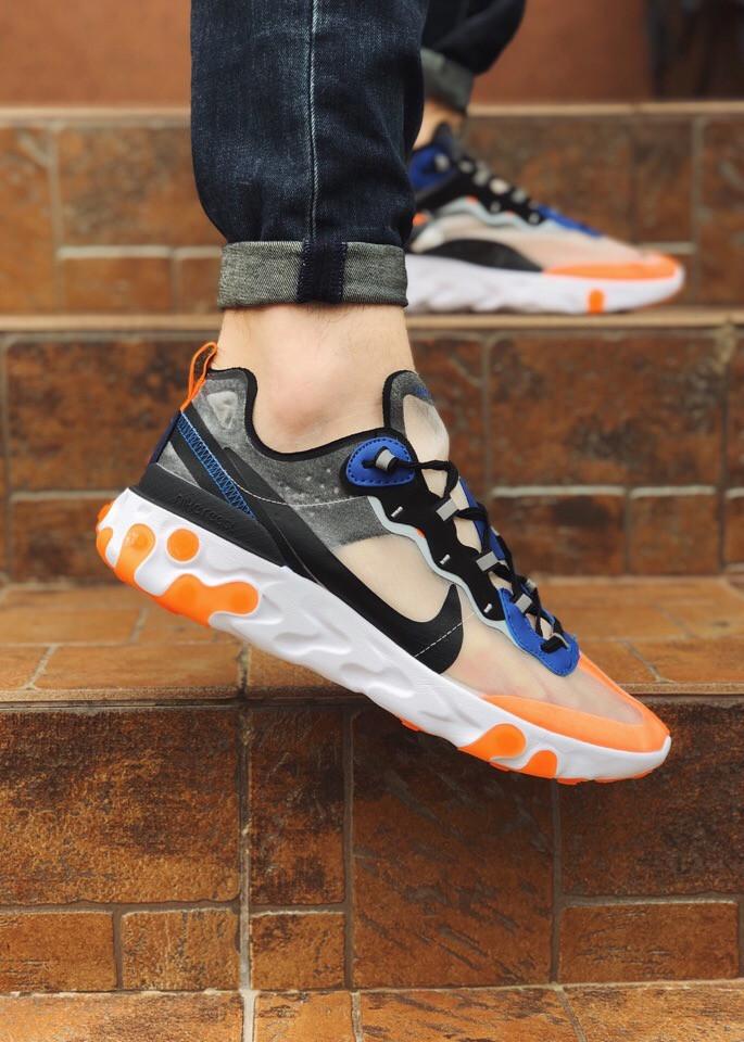 Мужские  кроссовки Nike легкие спортивные яркие удобные найки на шнуровке (оранжевый),  ТОП-реплика