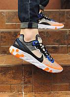 Мужские  кроссовки Nike легкие спортивные яркие удобные найки на шнуровке (оранжевый),  ТОП-реплика, фото 1