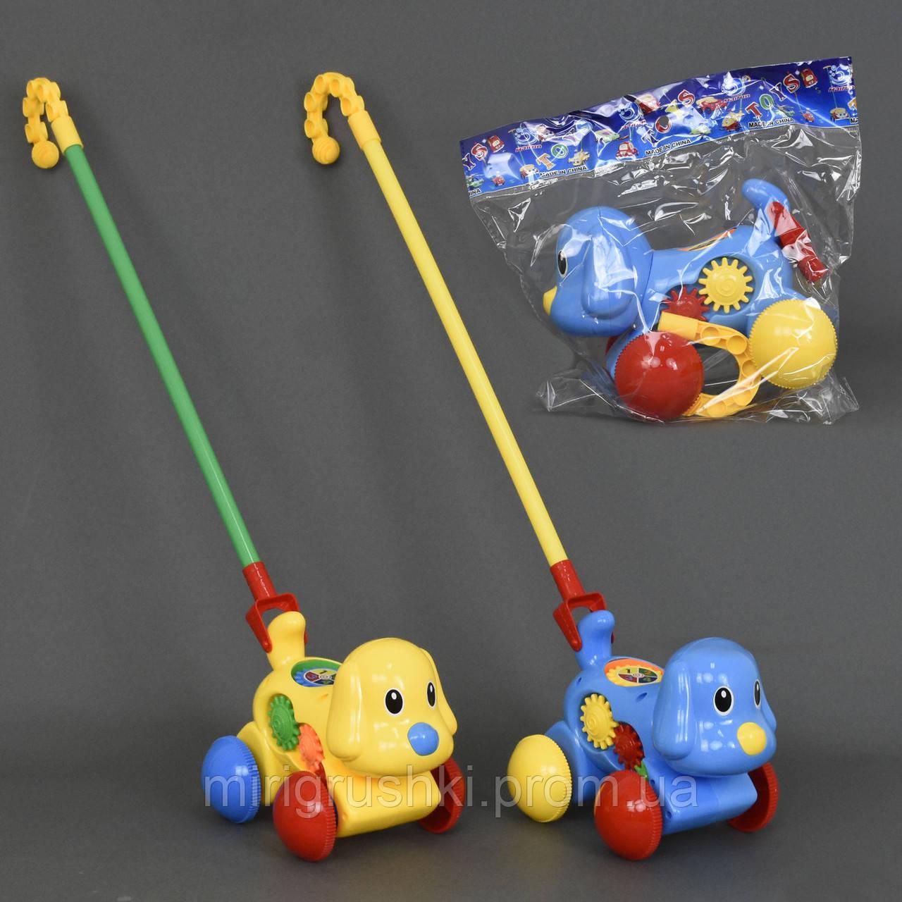 """Каталка """"Собачка"""" на палочке, 2 цвета, в кульке"""