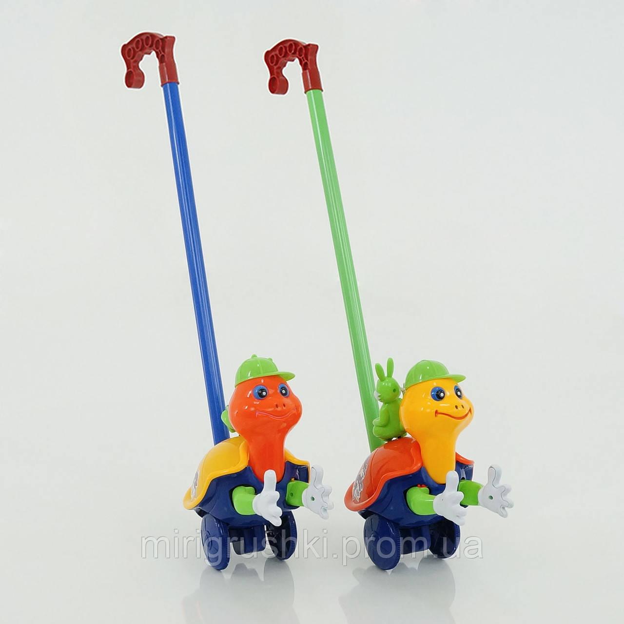"""Каталка """"Черепашка"""" на палочке, хлопает в ладоши, 2 цвета, с погремушкой, в кульке"""
