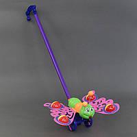 """Каталка """"Бабочка"""" на палочке, машет крыльями с погремушкой, в кульке"""