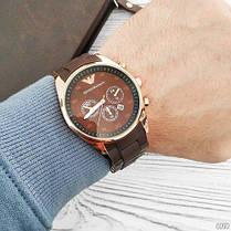 Мужские часы ARMANI Gold-Brown (эмпорио армани браслет золото- коричневые)  Чоловічий годинник, фото 3