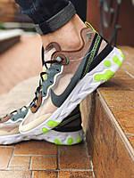 Мужские  кроссовки Nike текстильные спортивные практичные  удобные найки в коричневом цвете,  ТОП-реплика, фото 1