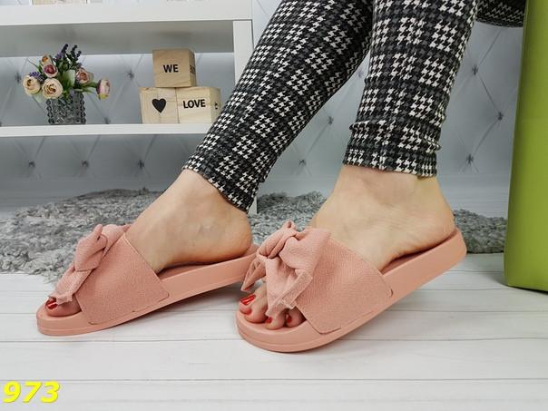 9069c58d2 Женские шлепанцы из обувного текстиля с бантом пудра : продажа, цена ...