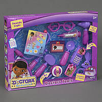 Доктор Плюшева (набор) стетоскоп, шприц, очки, телефон, ножницы, аксес., в кор-ке