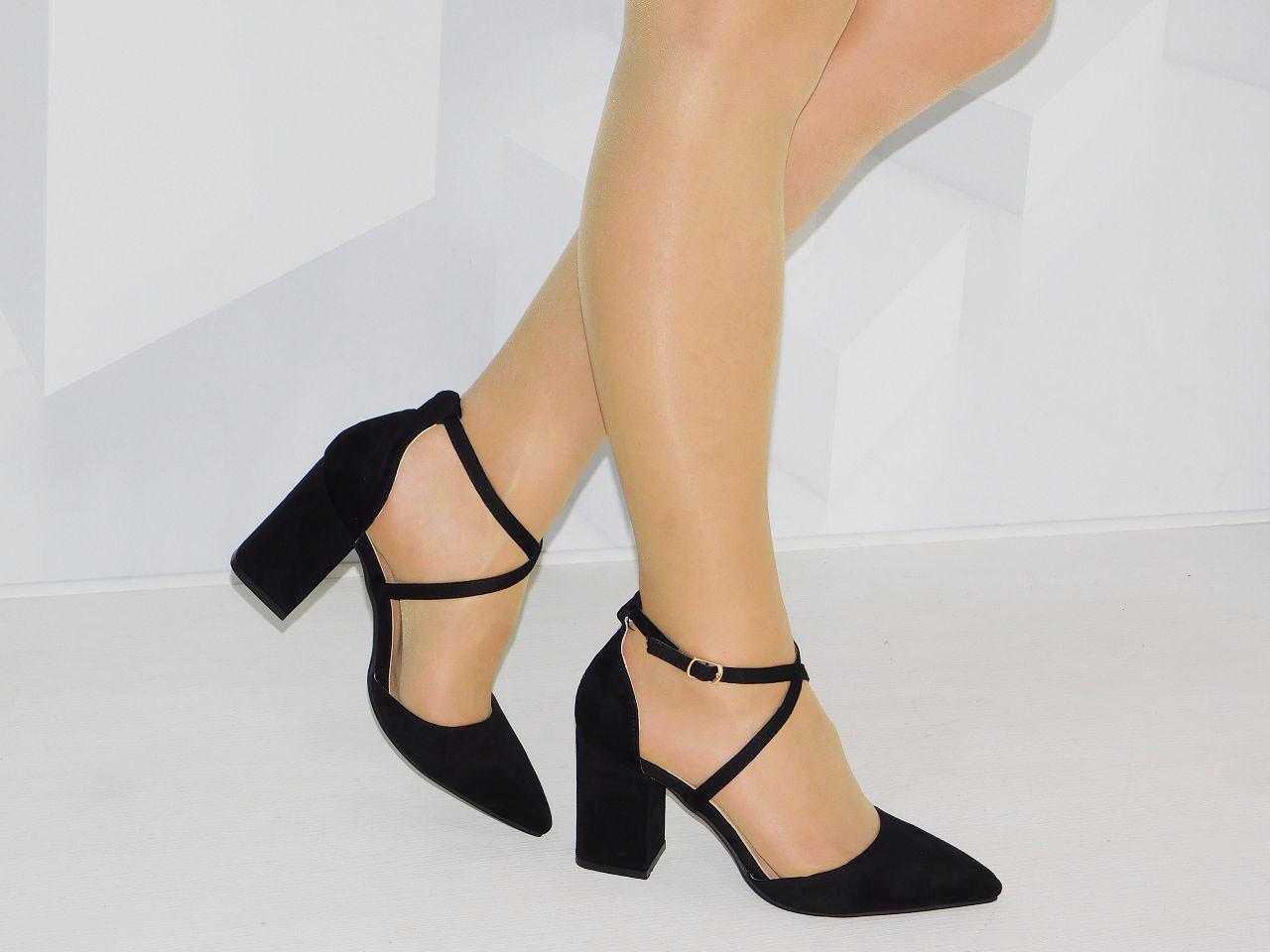 d10e0ea63 Летние туфли женские на толстом каблуке с острым носком черные ...
