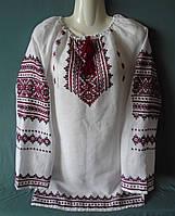 Українська жіноча вишиванка туніка із довгим рукавом ручної роботи із білого льону