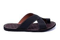 Мужские кожаные  летние шлепанцы-сланцы Bonis Original Black, фото 1