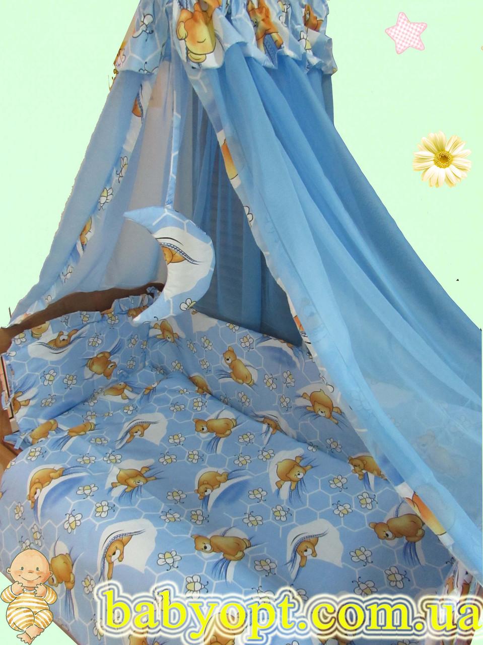 Постельное бельё в детскую кроватку мишки с пчелками голубое 6 элементов