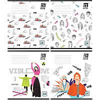 Тетрадь школьная Kite Время и Стекло VIS19-238, 24 листа, клетка, набор 4 шт