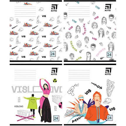 Зошит шкільний Kite Час і Скло VIS19-238, 24 арк. клітинка, набір 4 шт, фото 2