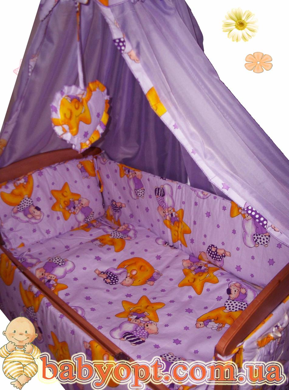 Набор в детскую кроватку 5 элементов. Цвета. Одеяло, подушка, пододеяльник, наволочка, простынка