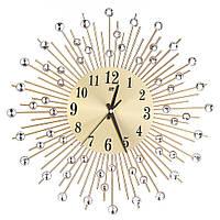 """Настенные часы (37 см) со стразами камнями """"Солнце Большое Золото"""" Ti-time [Металл, Стекло]"""