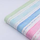 """Поплин шириной 240 см """"Акварельные полосы"""" голубые, мятные, розовые на белом (№2255), фото 2"""