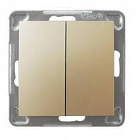 Вимикач двоклавішний Ospel Impresja 16AX250~, IP-20, золото