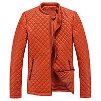 Мужская стеганая кожаная куртка. Оранж
