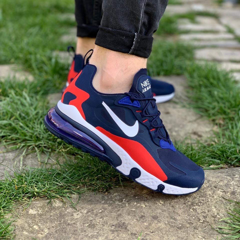 Кроссовки мужские Nike летние спортивные найки для тренировок текстиль на шнуровке синие,  ТОП-реплика
