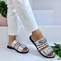 Женские шлепанцы серебро Brand Lux 454, фото 1