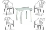 Набор садовой мебели Fiocco белое 1 стол + кресло 4 Altea шт производство Италия цвет белое