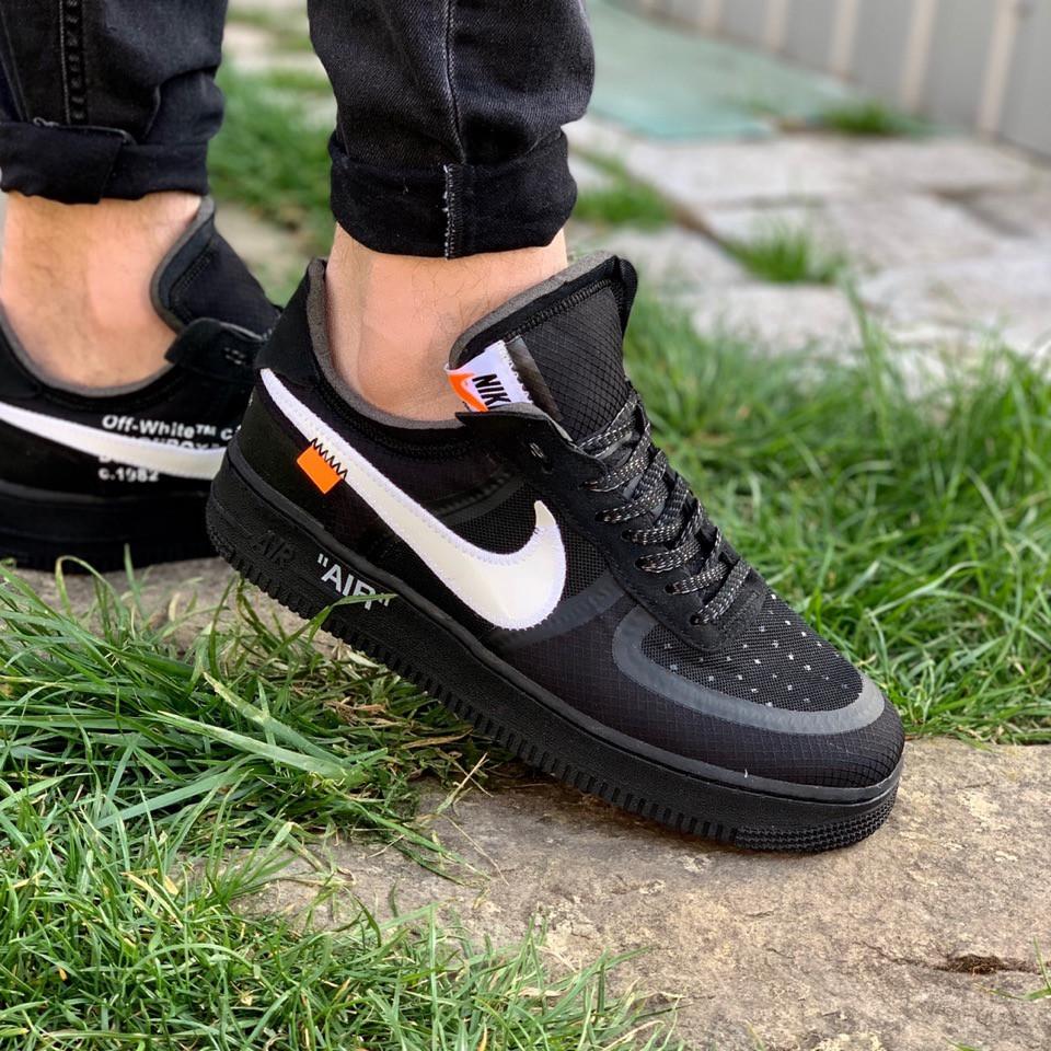 Кеды мужские Nike текстильные весна лето на шнуровке молодежные в черном цвете, ТОП-реплика