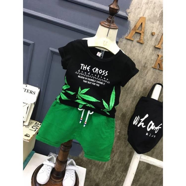 Летний костюм на мальчика  футбока +шорты 3 года  Сross черно-зеленый