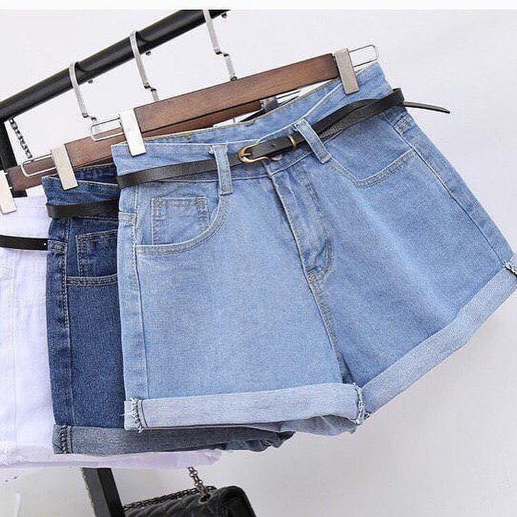 Женские джинсовые шорты Фабричный Китай L, Голубой