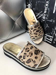 Кожаные женские леопардовые шлепанцы на плоской подошве 36-40р