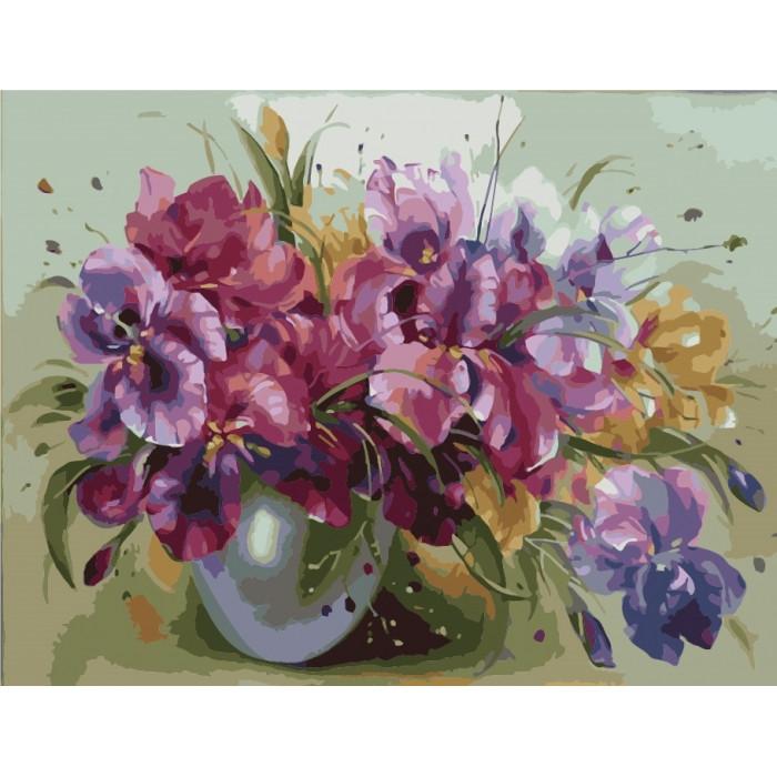 Картина по номерам Букет ярких ирисов КНО1118 40*50 см
