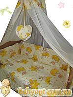 Постельное бельё в детскую кроватку мишки на звезде желтые 6 элементов, фото 1