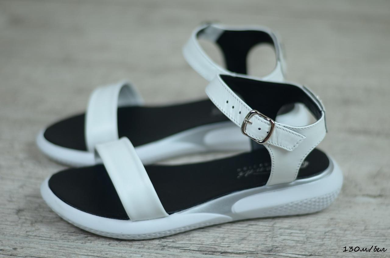 Женские кожаные сандалии, босоножки  (Код: 130м/бел) ► [36,37,38,39,40]
