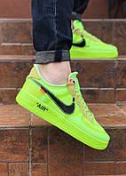 Кеды мужские Nike текстильные на весну стильные на шнуровке молодежные в салатовом  цвете, ТОП-реплика, фото 1