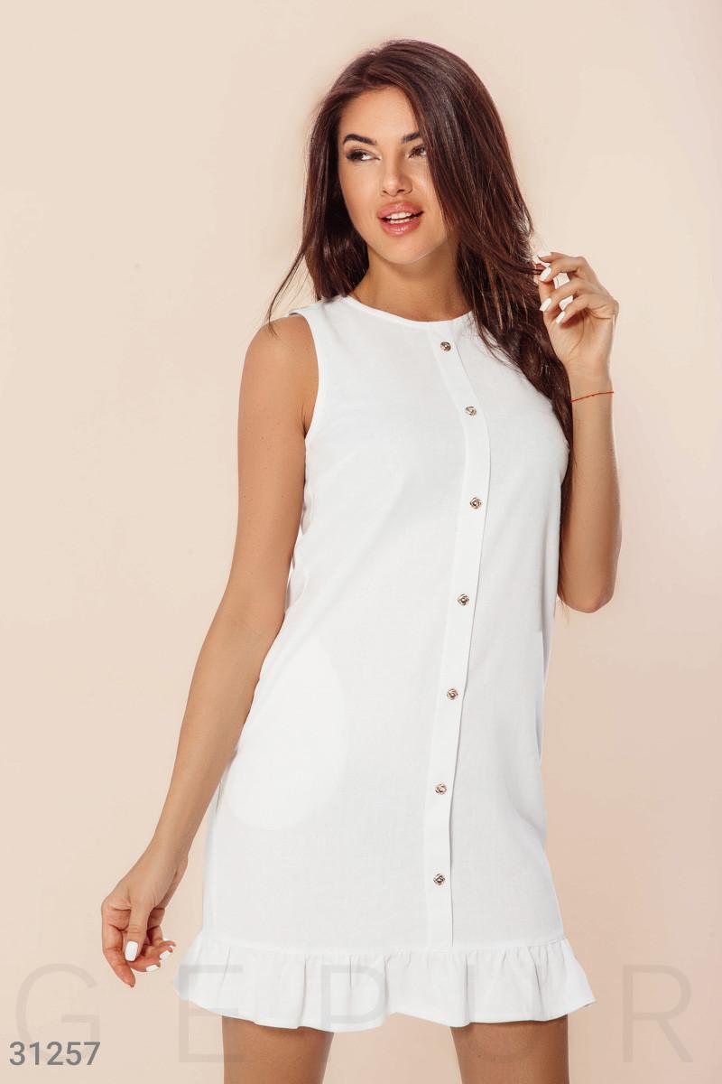 Льняное платье-трапеция с воланом белое