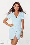 Короткое платье на запах с вырезом на груди голубое, фото 2