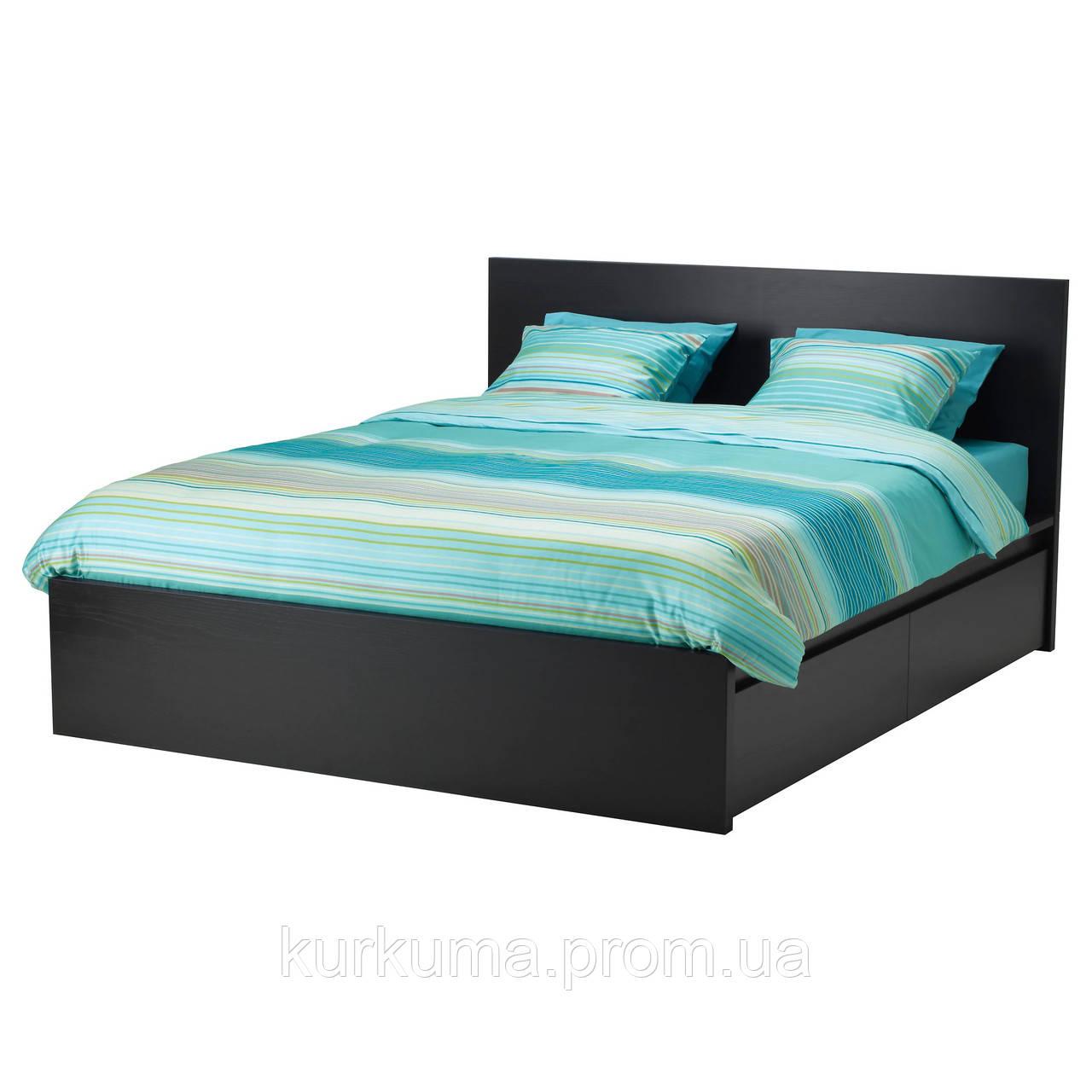 IKEA MALM Кровать высокая, 4 ящика, черно-коричневый, Лурой  (590.024.36)