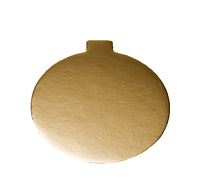 Подложка круглая золотая, h-1 мм Ø 8 см для порционных десертов, фото 1