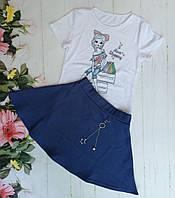 """Комплект на девочку """"Shopping"""" (юбка+кофта), размер 128-152, белый+темно синий, фото 1"""