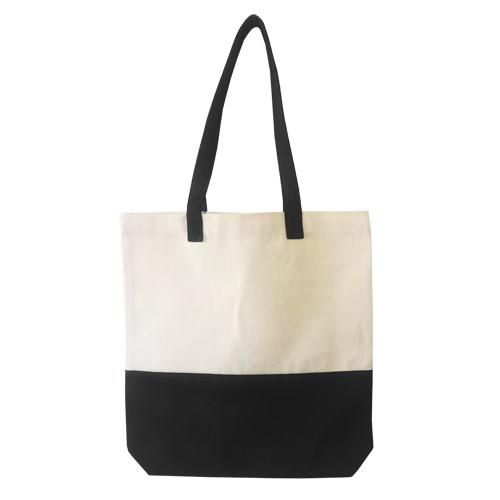 Двухцветная сумка из  саржи с дном, размер 35*7*35 см